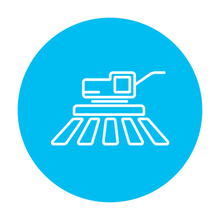 harvester: Combine harvester line icon for web, mobile and infographics. Vector white icon on the light blue circle isolated on white background.