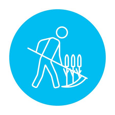 mowing the grass: Man mowing grass with a scythe line icon for web, mobile and infographics. Vector white icon on the light blue circle isolated on white background.