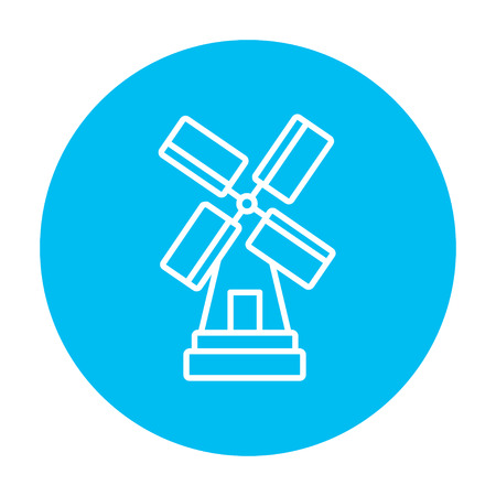 Windmill line icon for web, mobile and infographics. Vector white icon on the light blue circle isolated on white background. Vectores