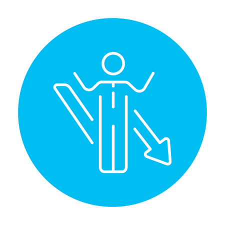 Businessman with raised hands and arrow going down line icon for web, mobile and infographics. Vector white icon on the light blue circle isolated on white background. Иллюстрация