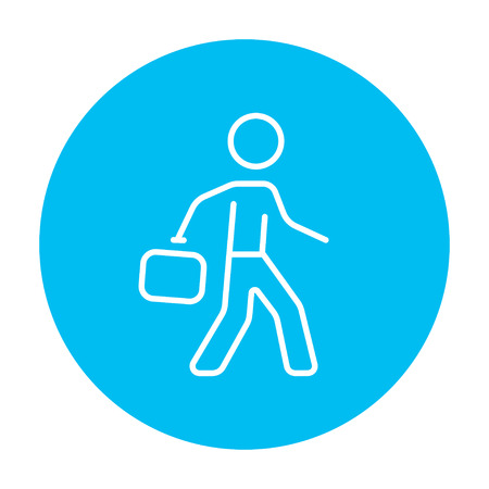 educated: Businessman walking with briefcase line icon for web, mobile and infographics. Vector white icon on the light blue circle isolated on white background. Illustration