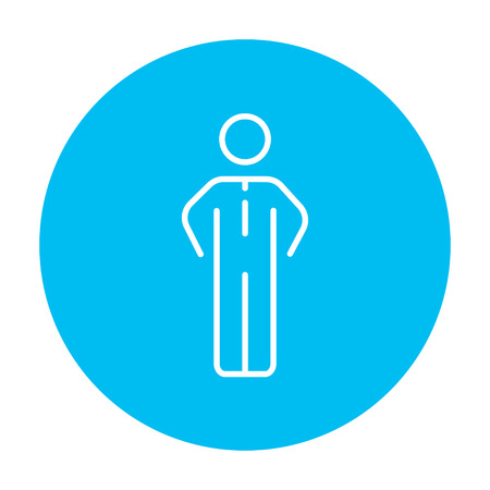 Businessman standing line icon for web, mobile and infographics. Vector white icon on the light blue circle isolated on white background.