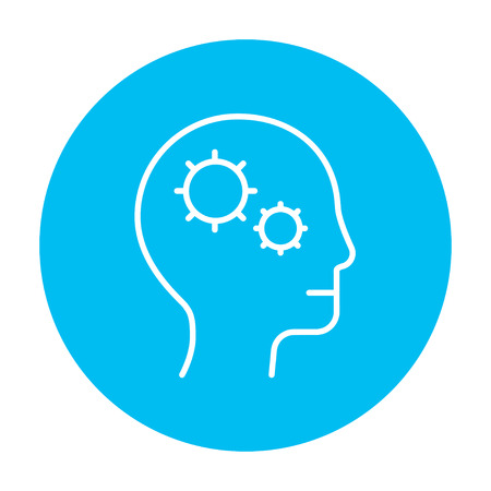 Human head with gear line icon for web, mobile and infographics. Vector white icon on the light blue circle isolated on white background. 向量圖像