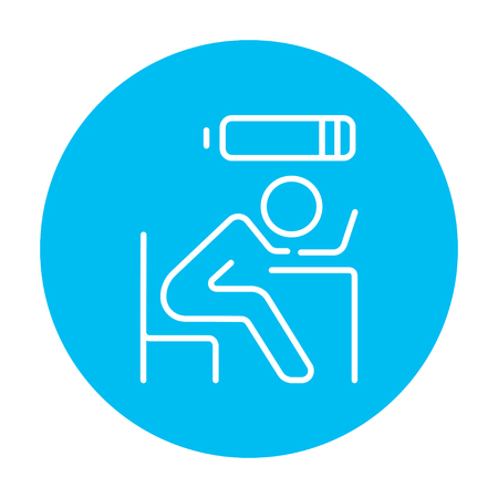 Tired employee sleeping on workplace on laptop keyboard with low power battery sign over his head line icon for web, mobile and infographics. Vector white icon on the light blue circle isolated on white background. Illusztráció