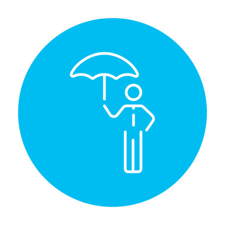 sheltering: Businessman with umbrella line icon for web, mobile and infographics. Vector white icon on the light blue circle isolated on white background.
