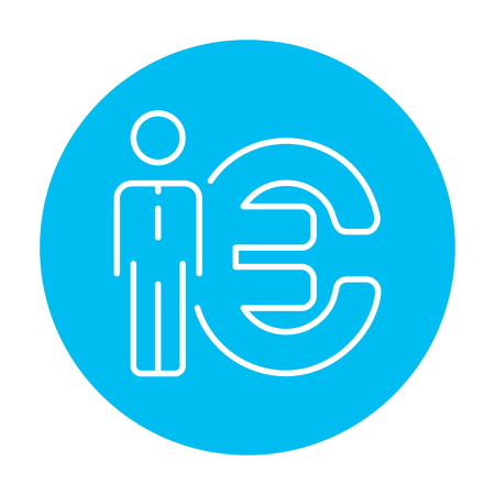 fullbody: Businessman standing beside the Euro symbol line icon for web, mobile and infographics. Vector white icon on the light blue circle isolated on white background.