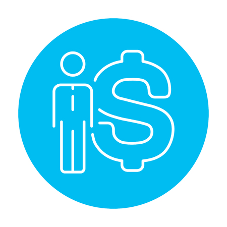fullbody: Businessman standing beside the dollar symbol line icon for web, mobile and infographics. Vector white icon on the light blue circle isolated on white background. Illustration