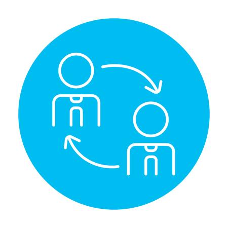 Le roulement du personnel icône de la ligne pour le Web, mobile et infographies. Vector blanc icône sur le cercle bleu clair isolé sur fond blanc.