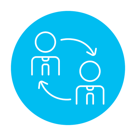 substitute: Staff turnover line icon for web, mobile and infographics. Vector white icon on the light blue circle isolated on white background.