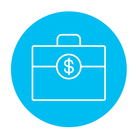 design objects: Suitcase with dollar symbol line icon for web, mobile and infographics. Vector white icon on the light blue circle isolated on white background.