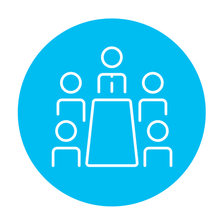 Business meeting in the office line icon for web, mobile and infographics. Vector white icon on the light blue circle isolated on white background.