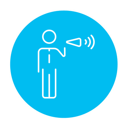 noisiness: Businessman with megaphone line icon for web, mobile and infographics. Vector white icon on the light blue circle isolated on white background.