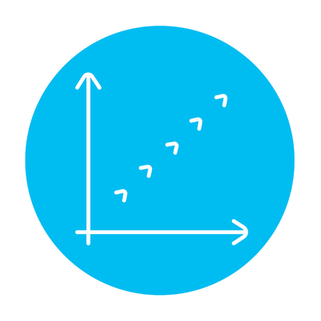 discontinuous: Growth graph line icon for web, mobile and infographics. Vector white icon on the light blue circle isolated on white background.
