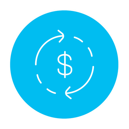 refresh rate: Dollar symbol with arrows around line icon for web, mobile and infographics. Vector white icon on the light blue circle isolated on white background.