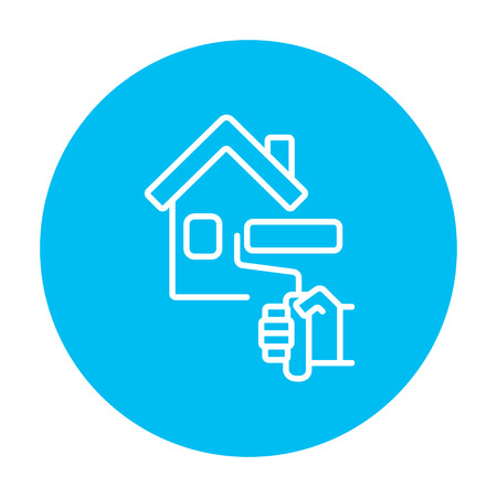 blue roller: House with roller for painting line icon for web, mobile and infographics. Vector white icon on the light blue circle isolated on white background. Illustration