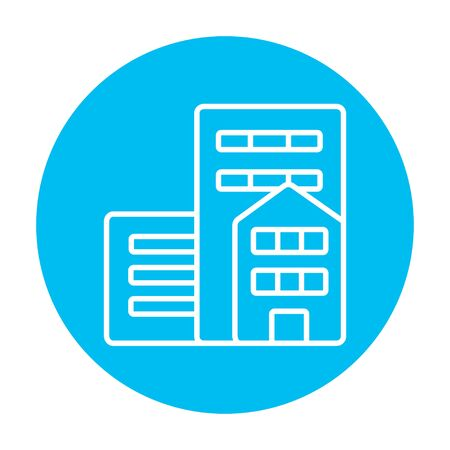 cemented: Residential buildings line icon for web, mobile and infographics. Vector white icon on the light blue circle isolated on white background.