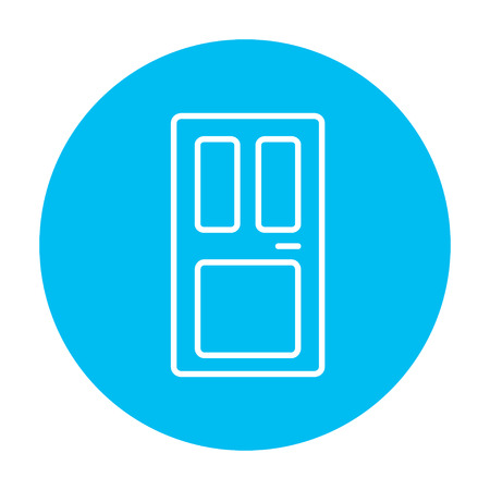 front door: Front door line icon for web, mobile and infographics. Vector white icon on the light blue circle isolated on white background.