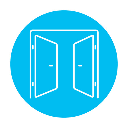 double entry: Open doors line icon for web, mobile and infographics. Vector white icon on the light blue circle isolated on white background.