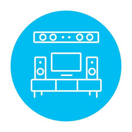flat screen tv: TV flat screen and home theater line icon for web, mobile and infographics. Vector white icon on the light blue circle isolated on white background.