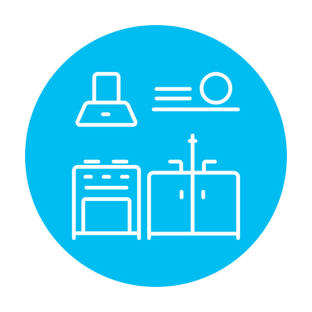 blue white kitchen: Kitchen interior line icon for web, mobile and infographics. Vector white icon on the light blue circle isolated on white background.