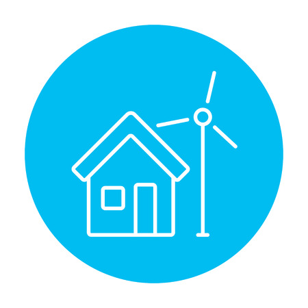 House with windmill line icon for web, mobile and infographics. Vector white icon on the light blue circle isolated on white background.