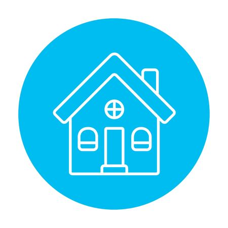 housing project: Detached house line icon for web, mobile and infographics. Vector white icon on the light blue circle isolated on white background.