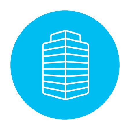 multi storey: Office building line icon for web, mobile and infographics. Vector white icon on the light blue circle isolated on white background.
