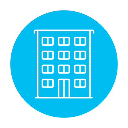 cemented: Residential building line icon for web, mobile and infographics. Vector white icon on the light blue circle isolated on white background. Illustration