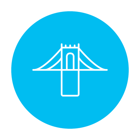 web graphics: Bridge line icon for web, mobile and infographics. Vector white icon on the light blue circle isolated on white background. Illustration