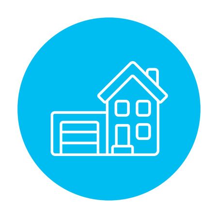 automatic doors: House with garage line icon for web, mobile and infographics. Vector white icon on the light blue circle isolated on white background.