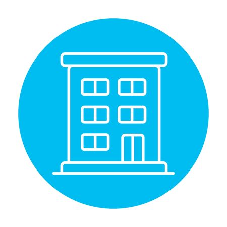 Residential building line icon for web, mobile and infographics. Vector white icon on the light blue circle isolated on white background. Illustration