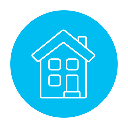 two storey: Two storey detached house line icon for web, mobile and infographics. Vector white icon on the light blue circle isolated on white background.