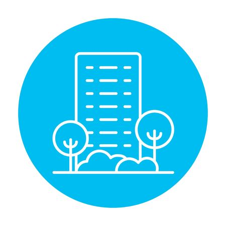 housing project: Residential building with trees line icon for web, mobile and infographics. Vector white icon on the light blue circle isolated on white background. Illustration