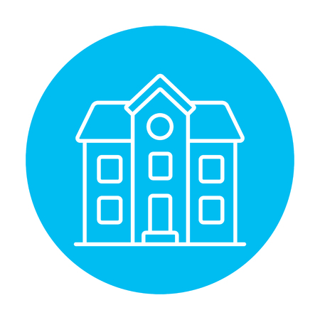 two storey house: Two storey detached house line icon for web, mobile and infographics. Vector white icon on the light blue circle isolated on white background.