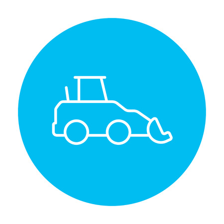 Excavator line icon for web, mobile and infographics. Vector white icon on the light blue circle isolated on white background. Illusztráció