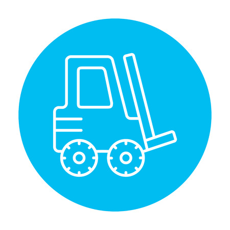 distribution picking up: Forklift line icon for web, mobile and infographics. Vector white icon on the light blue circle isolated on white background. Illustration
