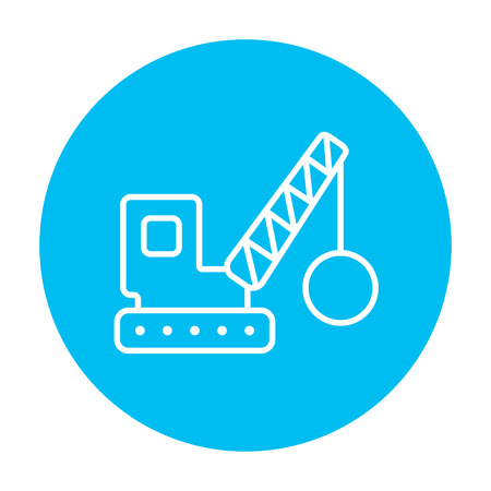 raze: Demolition trailer line icon for web, mobile and infographics. Vector white icon on the light blue circle isolated on white background.
