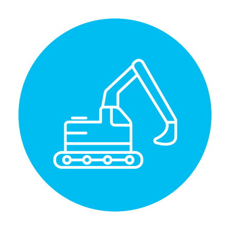 Excavator line icon for web, mobile and infographics. Vector white icon on the light blue circle isolated on white background. Illustration