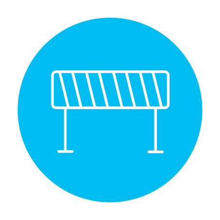 diversion: Road barrier line icon for web, mobile and infographics. Vector white icon on the light blue circle isolated on white background.