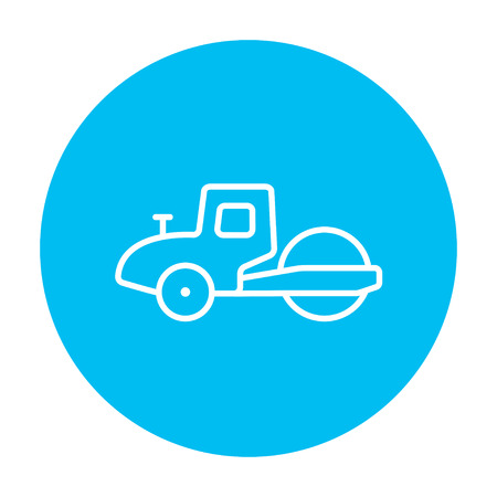 steamroller: Road roller line icon for web, mobile and infographics. Vector white icon on the light blue circle isolated on white background.