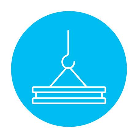 Haak van de kraan houden betonplaat lijn pictogram voor web, mobiel en infographics. Vector witte pictogram op de lichtblauwe cirkel op een witte achtergrond.