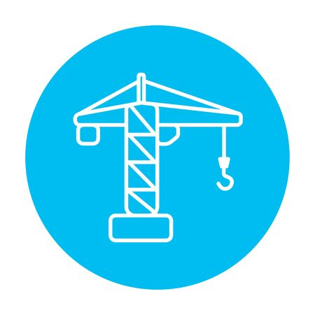 blue circle: Construction crane line icon for web, mobile and infographics. Vector white icon on the light blue circle isolated on white background.