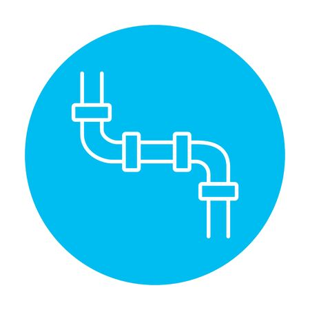 Water pipeline line icon for web, mobile and infographics. Vector white icon on the light blue circle isolated on white background.