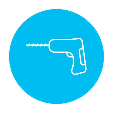 hammer drill: Hammer drill line icon for web, mobile and infographics. Vector white icon on the light blue circle isolated on white background.