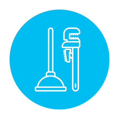 sanitaryware: Pipe wrenches and plunger line icon for web, mobile and infographics. Vector white icon on the light blue circle isolated on white background.