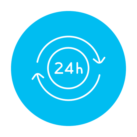 hrs: Service 24 hrs line icon for web, mobile and infographics. Vector white icon on the light blue circle isolated on white background.