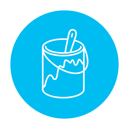 paint tin: Paint brush in the paint tin line icon for web, mobile and infographics. Vector white icon on the light blue circle isolated on white background.