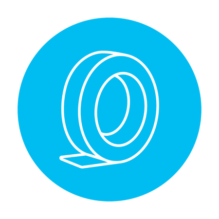 Roll of adhesive tape line icon for web, mobile and infographics. Vector white icon on the light blue circle isolated on white background.