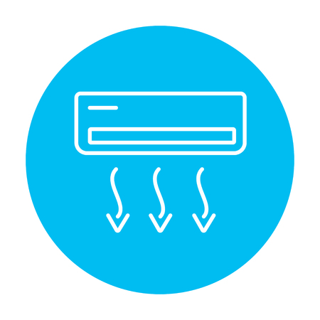 coolness: Air conditioner line icon for web, mobile and infographics. Vector white icon on the light blue circle isolated on white background.