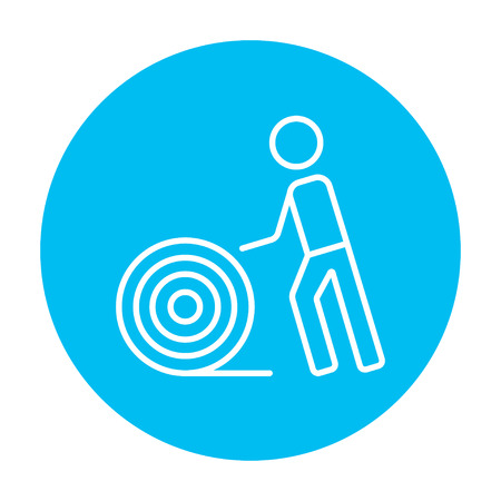 cabling: Man with wire spool line icon for web, mobile and infographics. Vector white icon on the light blue circle isolated on white background.